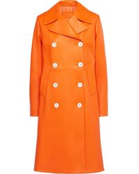 Prada Double-breasted Nappa Leather Coat - オレンジ