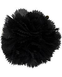 Alexandre Vauthier Tulle Flower-appliqué Brooch - Black