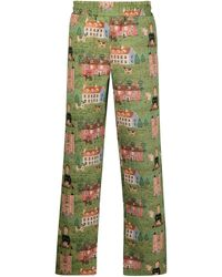 Chinatown Market Embroidery-print Pants - Green