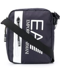 EA7 Logo-print Messenger Bag - Blue