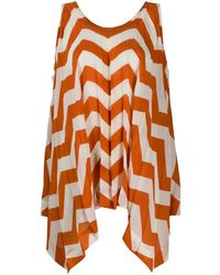 Issey Miyake Asymmetric Pleated Striped Top - Orange