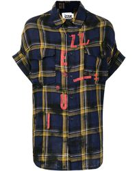 Izzue Distressed Tartan-print Cotton Shirt - Blue