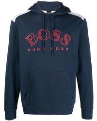 BOSS by Hugo Boss ロゴ パーカー - ブルー