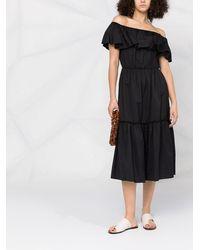FEDERICA TOSI Ярусное Платье С Открытыми Плечами - Черный