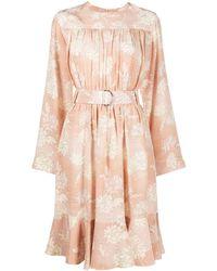 Chloé Платье С Поясом И Цветочным Принтом - Розовый