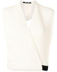 Sara Lanzi Waffle-knit Wool Top - White