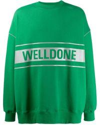 we11done Logo Print Sweatshirt - Green