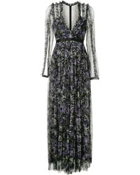 Needle & Thread Floral-print Ruffle-trimmed Plunge Neck Gown - Black
