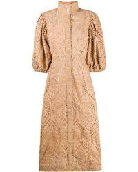Ganni Kleid mit Lochstickerei - Natur