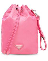 Prada Logo Plaque Pouch - Pink