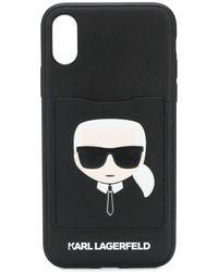 Karl Lagerfeld Coque d'iPhone X/XS Karl Cardslot - Noir