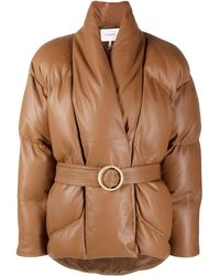 FRAME Wrap Leather Puffer Jacket - Brown