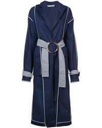 Silvia Tcherassi メタルリング ベルテッド コート - ブルー