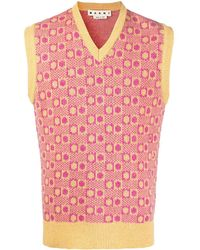 Marni Patterned Knitted Vest - Pink