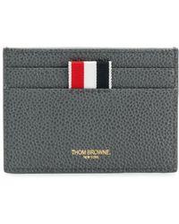 Thom Browne - Diagonal Intarsia Stripe Single Cardholder In Pebble Grain Leather - Lyst
