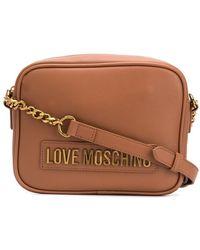 Love Moschino Logo Plaque Chain Strap Satchel Bag - Brown