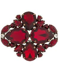 Erika Cavallini Semi Couture - Campione Crystal-embellished Brooch - Lyst