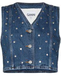 Ganni Studded Denim Vest - Blue