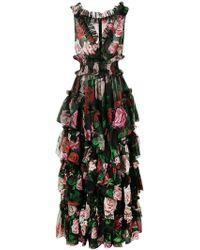 Dolce & Gabbana - Floral Print Evening Dress - Lyst