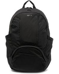 agnès b. Logo Print Two-way Zip Backpack - Black