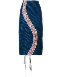 Marni Jupe crayon rayée - Bleu