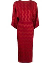 Missoni Zigzag Woven Knitted Dress - Red