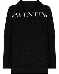 Valentino Vltn Hooded Drwstrng Logo Insert Lace Ls - ブラック
