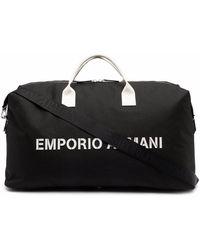 Emporio Armani Sac cabas à logo imprimé - Noir