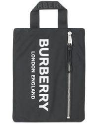 Burberry Zipped Logo Handle Pouch - Black