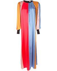 ROKSANDA Vestido largo de rayas con pliegues - Rojo
