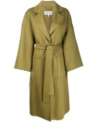 Loewe Oversized Belted Wool-blend Coat - Green