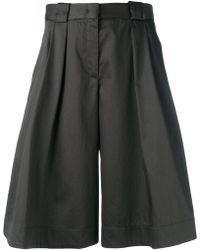 Jil Sander Navy - Shiny Wide Leg Shorts - Lyst