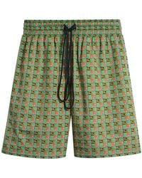 Burberry - Equestrian Check Print Cotton Drawcord Shorts - Lyst