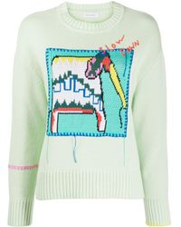 Mira Mikati Knitted Elephant Embroidered Jumper - Green