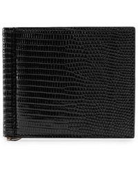 Gucci Brieftasche aus Eidechsenleder mit Geldscheinklammer - Schwarz