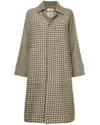 Coohem Checked Tweed Coat - Brown
