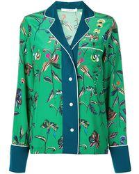 10 Crosby Derek Lam Botanical Print Pajama Shirt - Green