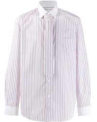 Burberry Classic Fit Monogram Motif Striped Shirt - Pink