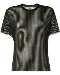 Dion Lee T-shirt nervuré à effet de transparence - Noir