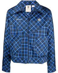 adidas チェック ジャケット - ブルー