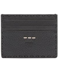 6ee986732074 Fendi Classic Grained  selleria  Leather Cardholder in Black for Men ...
