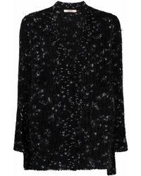 ODEEH V-neck Chunky-knit Cardigan - Black