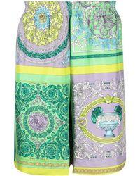 Versace Шорты Со Вставками И Принтом Baroque - Зеленый