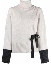 Eudon Choi Lace-detail Two-tone Rollneck Jumper - Grey