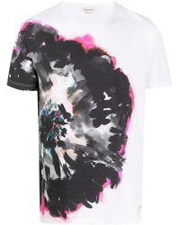 Alexander McQueen T-shirt Met Bloemenprint - Wit