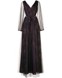 Marchesa notte - Floral-print Sheer Panel Gown - Lyst