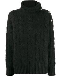 Polo Ralph Lauren Jersey de punto de ochos con cuello vuelto - Negro
