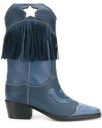 Ganni Botas estilo western Tove - Azul