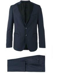 Tonello Contrast Lapel Suit - Blauw