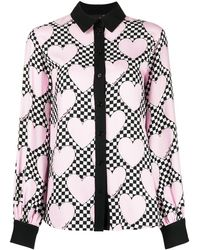Love Moschino Heart Chequered Print Blouse - Pink